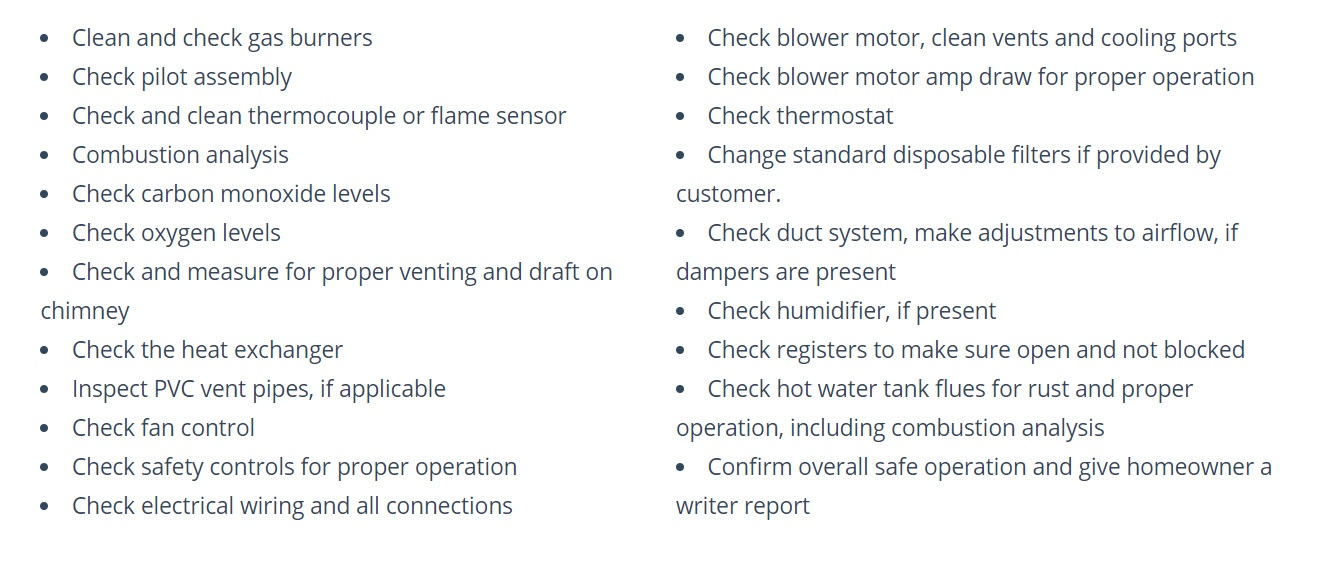 professional furnace maintneance checklist